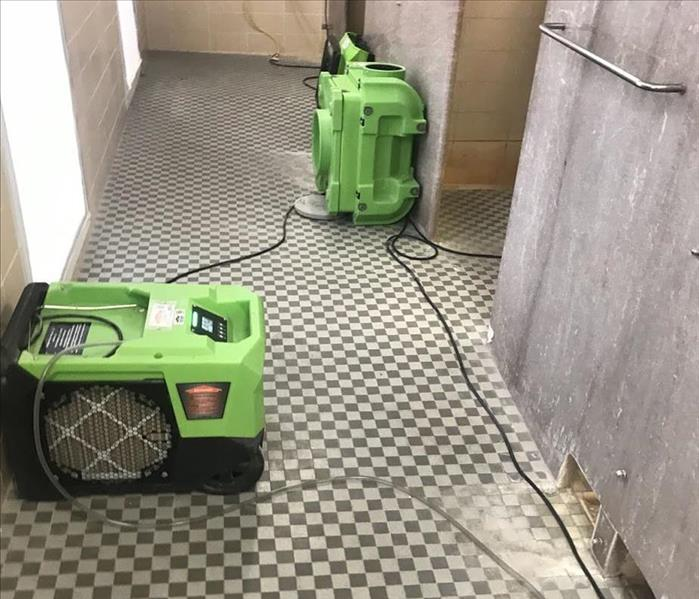 SERVPRO Equipment set up in a bathroom after water damage